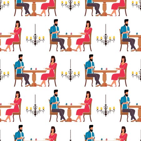 Man and Woman in Cafeteria Flat Seamless Pattern. Repeated Cartoon Gentleman and Elegant Lady Sitting at Table and Drinking Coffee, Eating Cakes. Vector Endless Retro Chandelier Decor Illustration Ilustrace