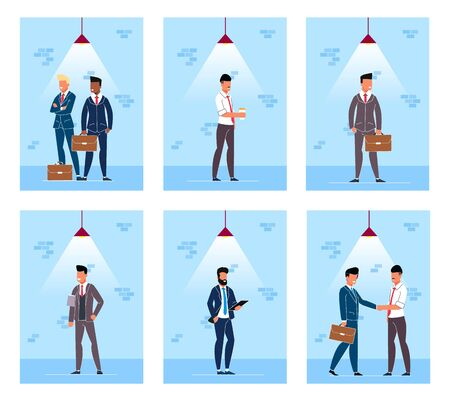Set Flyer People Under Lighting Lamp Cartoon. Men in Business Suits Under Professional Lighting. Staff Come and Drink Coffee. Guys with Briefcases Waiting in Hallway. Vector Illustration.