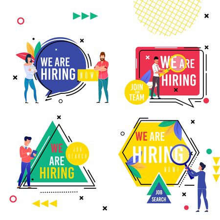Set Bright Inscription we are Hiring Cartoon Flat. In Center Hexagon is Circle, Square and Triangle with Inscription. People are Standing Near Big Inscriptions. Vector Illustration. 일러스트