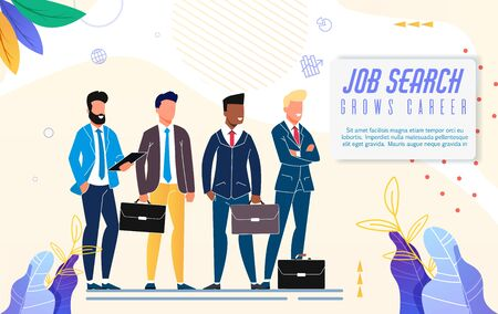 Bright Poster Job Search Grows Career Lettering. Employee Development Programs and Creation Personnel Reserve. Men in Business Suits are Considering Job Offers. Vector Illustration.