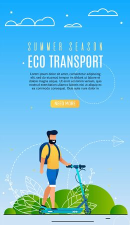 Advertising Poster is Written Eco Transport Flat. Bearded Man Travels Using Scooter. Bright, Flyer Guy with Backpack on his Shoulders Riding  Scooter. Vector Illustration Landing Page. Ilustrace
