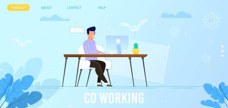 Landing Page Advertising Co Working Advantages. Cartoon Smiling Man Freelancer Works on Computer Sitting at Desk in Cozy Coworking Office. Remote Job and Independent Activity. Vector Illustration Ilustrace