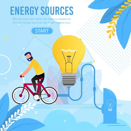 Energy Sources Motivation Cartoon Metaphor Banner. Man Rides Bicycle Generating Ecological Electricity Resource for Light. Electric Power Generation. Alternative Technology. Vector Flat Illustration