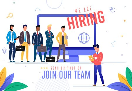Banner is Written we are Hiring Cartoon Flat. Advertising Flyer Send Us Youa Join Our Team. Men in Business Suits with Briefcases Stand Near Computer Screen and Look at Applicant.