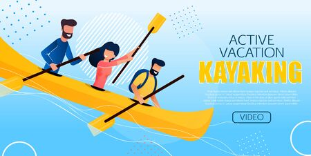 Entertaining Flyer Active Vacation Kayaking Flat. Poster People Make an Extreme Rafting Down Mountain Rivers. Men and Women on Expedition Rafting on River Cartoon. Vector Illustration.