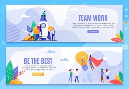 Teamwork and Be Best Motivational Banner Set. Target Achievement, Strategy Analysis, Office Staff Generate Idea Standing by Startup Rocket. Team Leader Hero Flying up with Bulb. Vector Illustration