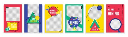 Flyer Set Collection we are Hiring Now Cartoon. Banner Badge Designer for Staff Search Agency. Poster Geometric Patterns on Colored Background. Strategy Research .Vector Illustration. Ilustrace