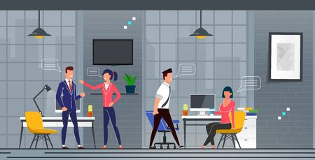 Acquaintance and Communication in New Office. Men and Women Actively Exchange Thoughts in Workplace Cartoon. Interior Office Space with Equipped Workplaces Flat. Vector Illustration. Ilustrace