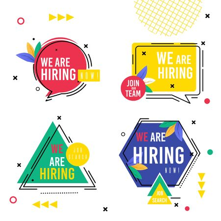 Set Inscription Collection we are Hiring Now. On Center Hexagon Circle Square and Triangle with Inscription. Ornaments from Dots Crosses and Lines, Message on Colored Background. Vector Illustration. Ilustração