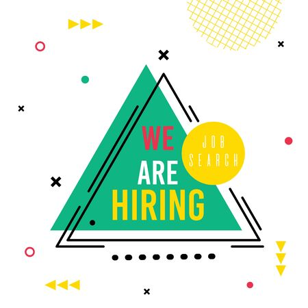 Flyer Lettering Job Search we are Hiring Cartoon. Centered Triangle Labeled. Ornaments Dots and Crossed Lines, Message on Green Background. Recruiting Resource. Vector Illustration. 일러스트