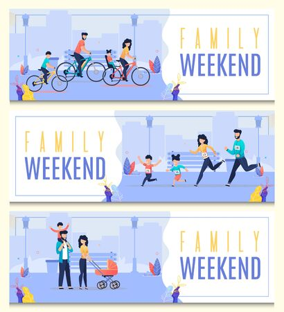 Set Banner Inscription Femily Weekend Cartoon. Parents and Children for Weekend Ride Together on Bicycles, Participate in Sports City Event. Adults and Children Rejoice Together Flat.