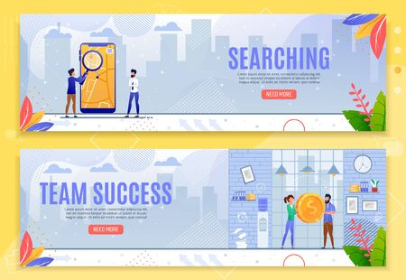 Searching and Team Success Cartoon Banner Set. Investment Search Development, Effective Workflow and Teamwork Improvement. Office Interior and Cityscape Backdrop. Vector Entrepreneurship Illustration 일러스트