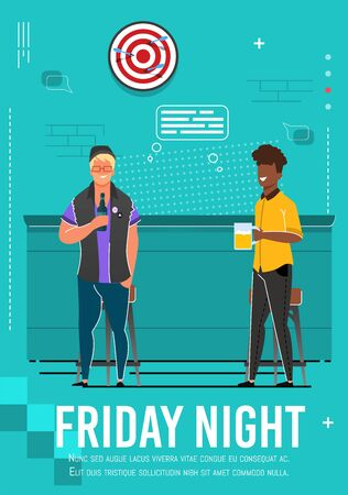 Friday Night Flyer with Relaxing Multiracial Men. Cartoon Fiends, Coworkers, Business Partners Rest at Cafe. Flat Guys Drink Beer from Bottle and Glass Standing near Bar Counter. Vector Illustration