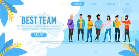Landing Page Presenting Business Group Best Team. Teamwork and Professional Partnership Metaphor. Cartoon Multi-Ethnic Office Managers. Vector Corporate Seminar, Training Advertising Flat Illustration