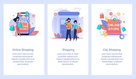 Online Store. Online Shopping. City Shopping.  イラスト・ベクター素材