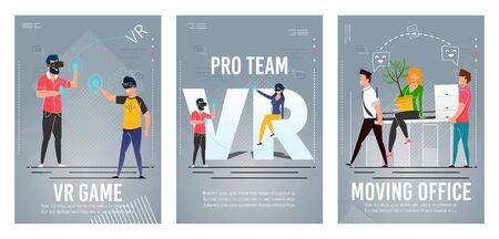 VR Game, Pro Team, Moving Office Banner Set. Professional Gamers People Group Wearing Virtual Reality Headset Glasses. Employees Change Workplace. Business Relocation. Vector Flat Illustration