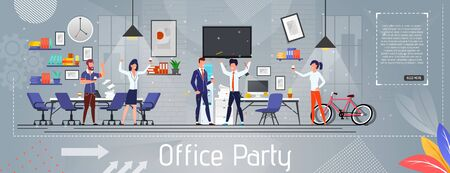 Office Party Flat Banner. Boss Chief and Executive Manager, Two Partners Receiving Greetings from Colleagues. Illusztráció