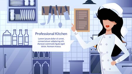 Restaurant Professional Kitchen Flat Vector Ad Banner or Promotion Poster Template. Female Chef in Uniform Standing in Kitchen Interior, Pointing with Finger on Info in Speak Cloud Illustration