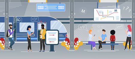 Modern City Rapid Transit System Station Flat Vector Concept with Multinational Passengers, Tourists Talking, Using Cellphones and Waiting for Train on Subway Underground Station Platform Illustration