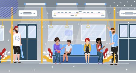 City Rapid Transit System Passengers Flat Vector Concept with Happy People Multinational Characters, Standing, Holding for Handrail, Sitting on Seats in Comfortable Subway Train Wagon Illustration Illusztráció