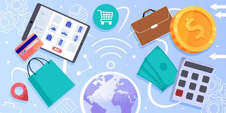 Online Trading or Shopping, Internet Commerce, Flat Vector Concept. Tablet with Clothing Online Store Webpage, Shopping Bag, Dollar Banknotes and Coin Illustrations with Globe, Web Icons on Background
