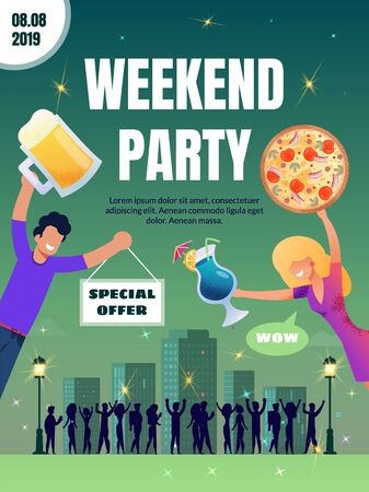 Special Offer on Food and Alcohol for Weekend Party in Pub or Nightclub Flat Vector Vertical Advertising Banner, Poster Template. Happy Male, Female Clients with Pizza, Beer and Cocktail Illustration