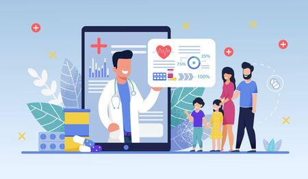 Social Media Template, Mobile App Family Doctor. Family Using Mobile Application, Control Health Indicators, Consult Online Doctor, Sign up Appointment Therapist. Healthcare services