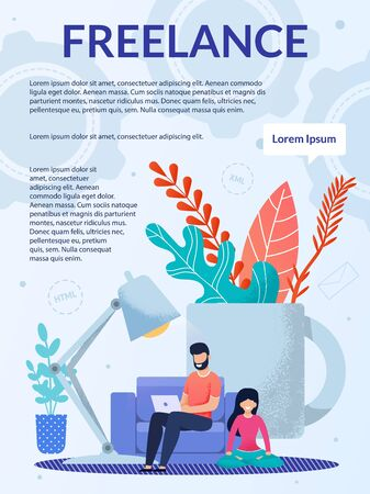 Freelance Job, Remote Work at Home Office Brochure. Advertising Flyer, Booklet, Leaflet Design. Cartoon Man Working on Laptop, Woman Meditating near. Happy Family. Vector Flat Illustration