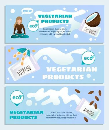Vegetarian Eco Products High Quality Dietology Header Banner Set. Cartoon Woman Character in Meditating Yoga Pose. Coconut, Soybean, Almond Ingredients. Healthy Diet. Vector Flat Illustration