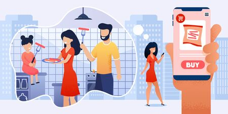 Woman Use Mobile App for Online Shopping Cartoon and Dream about Cooking with Family Together at Home Kitchen. Mother Buying Sausages via Internet. Food Purchase in Grocery Store. Vector Illustration