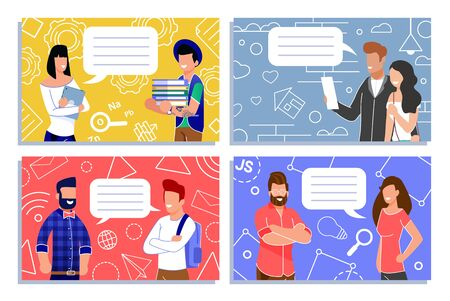 Men and Women, Coworkers, Students and Teachers, Realtor and Customer Exchanging Short Notes Cartoon Notebook Cover. Empty Speech Bubbles. Conversation and Communication. Vector People Illustration