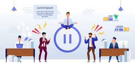 Office Relax and Meditation, Break Time at Work Banner. Cartoon Male Executive Manager Meditating on Flat Pause Button. Angry, Frustrated, Overworked, Tired Coworkers. Vector Illustration