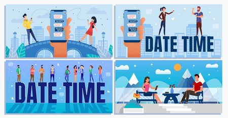 Date Time Daily Planner for Business and Informal Situation Cartoon Set. Businesspeople and Office Workers, Couple in Love Chatting and Scheduling Meetings and Rest. Vector Flat Illustration Illustration