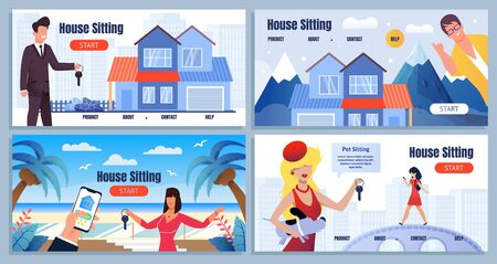 House Sitting on Tropical and Mountain Resort. Share Economy Service. Cartoon Landing Page with Flat Design. Friendly Smiling Male and Female Realtor Help Find Place to Stay. Vector Illustration