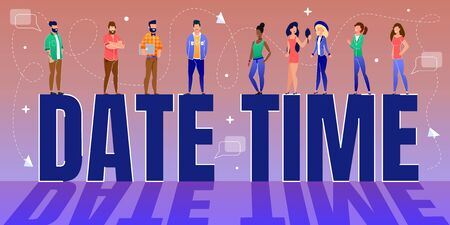 Tiny People, Multiracial Office Team Workers Standing on Huge Date Time Letters. Daily Events and Reminders Planner and Business Scheduling. Effective Management. Vector Cartoon Illustration Çizim