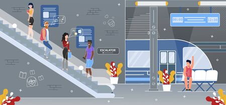 Metropolis Subway or High Speed Railway Station, Modern City Public Transport Hub Flat Vector. Public Transport Multinational Passengers Going on Escalator in Metro Underground Platform Illustration Illustration