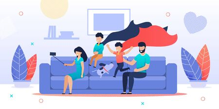 Happy Cartoon Family Characters Make Selfie Using Smartphone. Mother, Father, Children and Dog Sitting on Sofa in Living Room at Home. Two Sons Wearing Hero Cloak. Good Vibes. Vector Flat Illustration