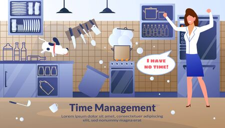 Modern Women Time Management Flat Vector Conceptual Banner or Poster with Angry, Frustrated and Stressed Businesswoman, Housewife Standing in Kitchen Mess, Complaining on Lack of Time Illustration