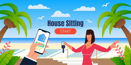 House Sitting Landing Page with Tropical Design. Cartoon Female Realtor Offering Kiss from Rental House on Seaside. Flat Human Hand Holding Phone with Open Application. Vector Illustration 일러스트