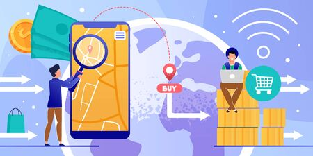 Online Shopping via Mobile App and Laptop Cartoon. Man Using Phone Navigator for Finding Order Location. Hipster Pay through Internet. Express Worldwide Delivery. Vector Flat Illustration