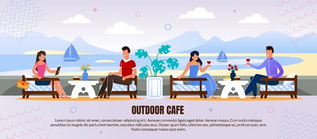 Happy Smiling Men and Women Rest at Outdoor Cafe. Drifting Sail-Boats and River Band on Scene. Romantic Dating. Advertising Flat Banner with Presentation Text. Vector Cartoon illustration