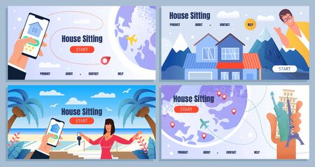 Flat Landing Page Set Advertising Worldwide House Sitting. Friendly Smiling Cartoon Male and Female Realtors Offering Best Place at Tropical Island, Mountain Resort, Europe. Vector Illustration 일러스트