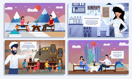 Happy People on Romantic Date at Urban or Mountain Resort Cafe. Friendly Smiling Restaurant Staff at Kitchen and Meeting Gests. Flat Cartoon Set. High Quality Rest and Service. Vector Illustration