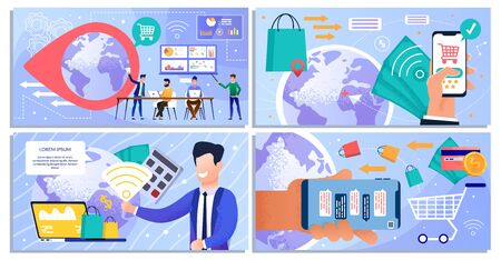 Layout Set design for Online Shopping and Digital Marketing. Analytics Teamwork and Business Strategy. Purchasing, Buying and Paying via Internet. Cartoon People Characters. Vector Flat Illustration