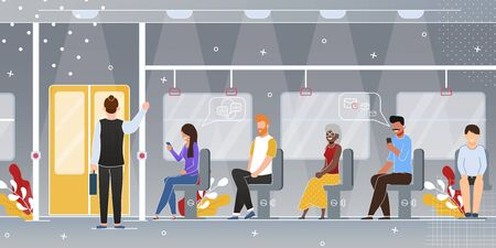 City Public Transport Passengers Flat Vector Concept Happy Multinational People Characters Standing, Sitting on Seats, Chatting and Messaging with Smartphone While Traveling by Subway Illustration