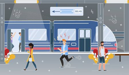 Modern Metropolis Subway or Railroad Underground Station Flat Vector Concept with Passengers Walk on Rapid Transit Platform, Worried Man Hurrying and Running Because of Late on Train Illustration 向量圖像