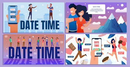 Date Time for Business, Holidays, Weekends Cartoon Banner Set. Happy People Characters Meeting, Having Rest, Celebrating Work Week End. Coworkers Scheduling and Planning. Vector Flat Illustration Vettoriali