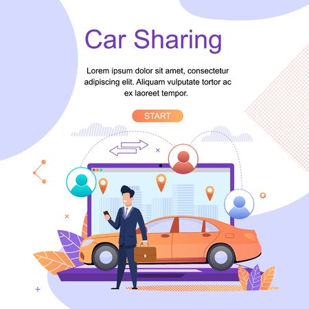 Car Sharing. Online Travel Search Services. Modern Mobile Application. Car Rental from Specialized Companies for intra City or short Trips. Social Networks between Driver and Passenger. 일러스트