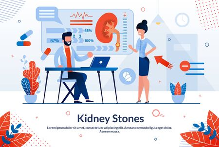 Bright Poster Kidney Stones Lettering Cartoon. Research Used in Medical Practice. Woman Came to Doctor With Back and Kidney Pains. Male Doctor is Taking Patients. Vector Illustration.