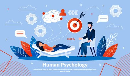 Informational Banner Inscription Human Psychology. Sequence Treatment, which must Followed According to Established Procedure. Woman Lies on Couch at an Appointment with Psychotherapist.